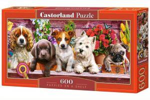 Puzzle Castorland 600 dílků panorama  - Štěňata na poličce  060368