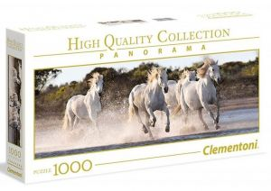 Puzzle Clementoni 1000 dílků  panorama - Běžící bílí koně   39441