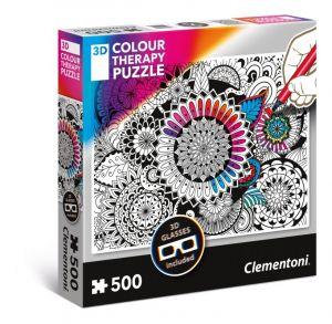 puzzle Clementoni 500 dílků  Colour Therapy - Květy + 3D brýle  35053