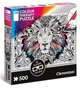 puzzle Clementoni 500 dílků  Colour Therapy - Lev + 3D brýle  35051