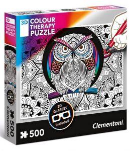 puzzle Clementoni 500 dílků  Colour Therapy - Sova + 3D brýle  35050