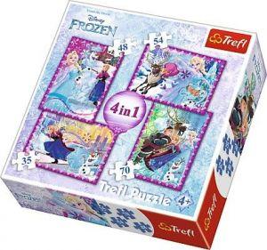 puzzle Trefl 35, 48, 54 a 70  dílků -  4v1  Frozen - Ledové království  34294