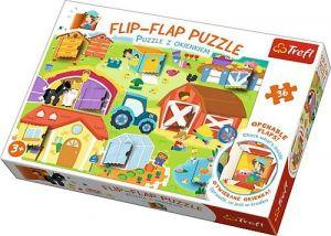 puzzle Trefl 36 dílků  Flip Flap s okénky - Na farmě 14271