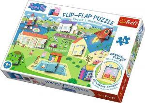 puzzle Trefl 36 dílků  Flip Flap s okénky - Prasátko Peppa  14274
