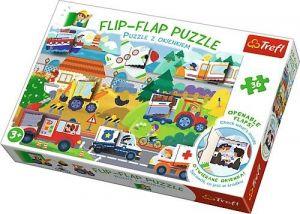 puzzle Trefl 36 dílků  Flip Flap s okénky - Vozidla  14273