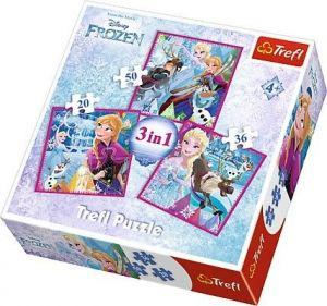 Puzzle   Trefl 3v1 - 20 , 36 a 50  dílků - Frozen - Ledové království - 34832