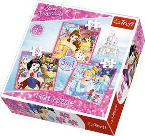 Puzzle   Trefl 3v1 - 20 , 36 a 50  dílků - Kouzelný svět princezen  - 34833