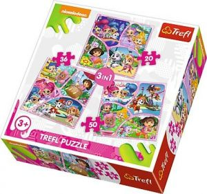 Puzzle   Trefl 3v1 - 20 , 36 a 50  dílků - Nickelodeon - koláže - 34828