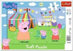 Puzzle Trefl v rámečku ( rámkové ) - Prasátko Peppa - ve veselém městečku  31276