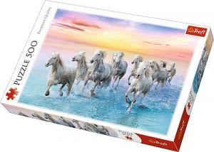 TREFL Puzzle  500 dílků -  Bílí koně v běhu    37289
