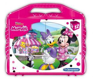 CLEMENTONI Dětské obrázkové kostky  ( kubus ) - Minnie  Mouse 12 kostek v kufříku 41184