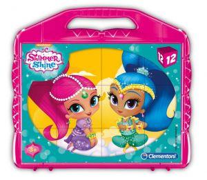 CLEMENTONI Dětské obrázkové kostky  ( kubus ) - Shimmer & Shine  12 kostek v kufříku 41187