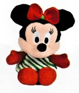 Disney plyš - 17 cm plyšová Minnie - zelené  šatičky