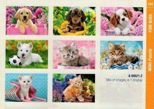 puzzle Castorland 54 dílků mini - kočky a pejsci - assort 8 druhů