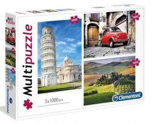 Puzzle Clementoni 1000 dílků -  3 x  1000 dílků  Itálie   08011