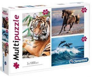 Puzzle Clementoni 1000 dílků -  3 x  1000 dílků  Zvířata  08010