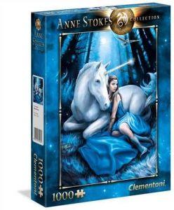 puzzle Clementoni 1000 dílků - Anne Stokes - Modrý měsíc - Blue Moon   39462