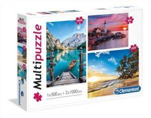 Puzzle Clementoni 2 x 1000 + 1 x 500 dílků   Příroda   08106