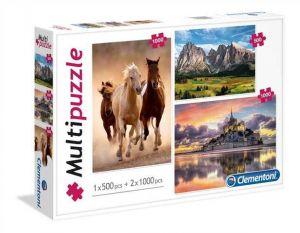 Puzzle Clementoni 2 x 1000 + 1 x 500 dílků Zvířata a krajina  08107
