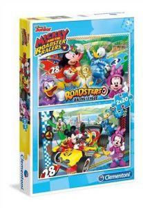Puzzle Clementoni 2 x 20  dílků  - Mickey Mouse - závodníci   - 07034
