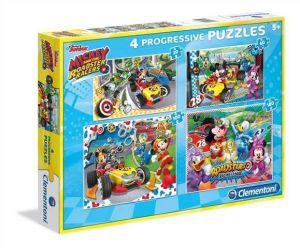 Puzzle Clementoni  - 20, 60, 100 a 180 dílků  - Mickey - závodníci  07718