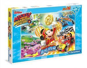 Puzzle Clementoni  MAXI  - 100 dílků  -  Mickey - závodníci   07535