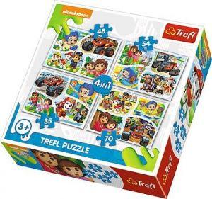 Trefl Puzzle  4v1  35 48 54 70 dílků   - Nickelodeon - koláže  34292