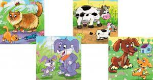 Brimarex - dřevěné puzzle - zvířátka  4 x 9 dílků  1572646