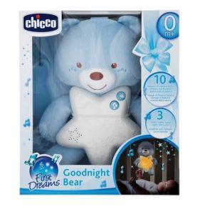 Chicco - Medvídek modrý s noční lampičkou a melodiemi