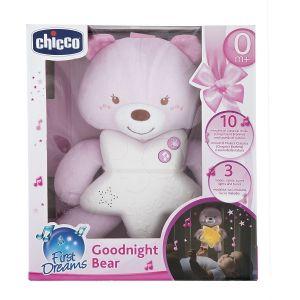 Chicco - Medvídek růžový s noční lampičkou a melodiemi