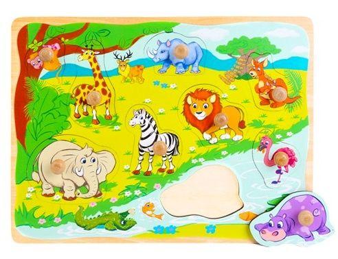 Dřevěná vkládačka s úchyty - divoká zvířata 22 x 30 cm 9 dílků Playme - Brimarex