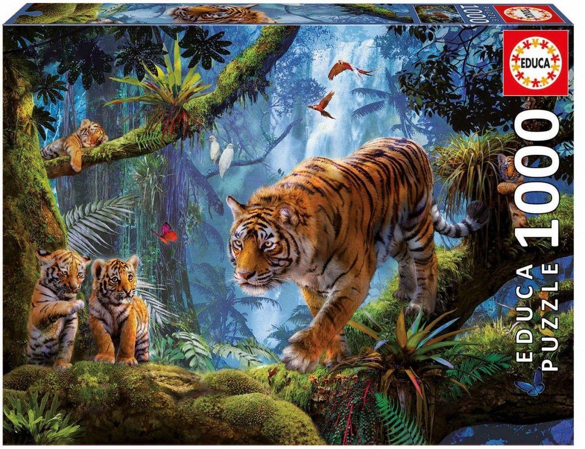 EDUCA Puzzle 1000 dílků - Tygři na stromě 17662