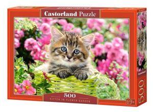 Puzzle Castorland 500 dílků - kočička v rozkvetlé zahradě    52974