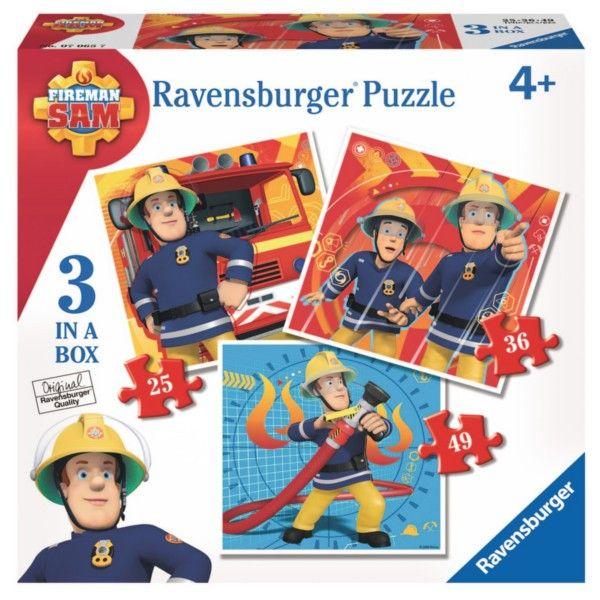 Puzzle Ravensburger 3v1 25, 36 a 49 dílků Požárník Sam 070657