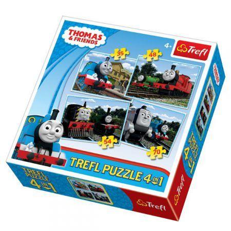 Trefl Puzzle 34300 - Mašinka Tomáš 4v1 35 48 54 70 dílků