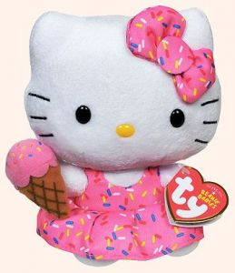 TY Beanie Babies  - Hello Kitty - ice cream   42090  - 15 cm plyšák