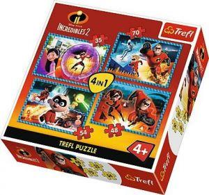 35, 48, 54 a 70  dílků - 4 v 1 -  Úžasňákovi 2   -  puzzle   Trefl 34306