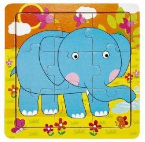 Dřevěné puzzle - 9 dílků  slon  15 x 15 cm