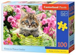 Puzzle Castorland 100 dílků premium  - Koťátko v květinách  111039