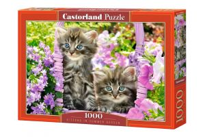 Puzzle Castorland  1000 dílků - Kočičky mezi květinami    104086