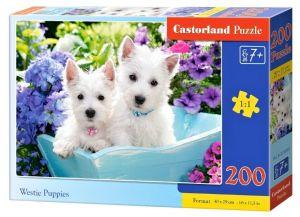 Puzzle Castorland 200 dílků premium  - Štěňátka Westie 222032