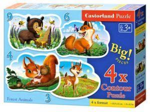 Puzzle Castorland 4v1 = 3-9 dílků  Lesní zvířátka   005079