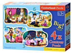 Puzzle Castorland 4v1 = 3-9 dílků  Zamilované princezny / víly   005093