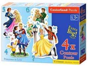 Puzzle Castorland 4v1 = 4-7 dílků  Zamilované princezny  04461