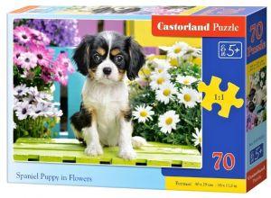 Puzzle Castorland 70 dílků premium  - Štěně mezi  květinami  070053