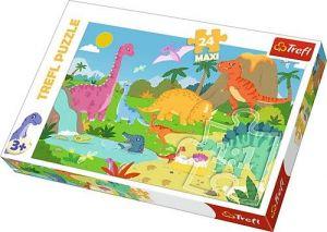 Puzzle Trefl 24 MAXI dílků  - ve světě dinosaurů  14284