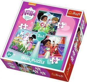 Puzzle Trefl 3v1 - 20 , 36 a 50  dílků - Nella - princezna rytířů - 34835