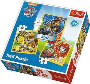 Puzzle Trefl 3v1 - 20 , 36 a 50  dílků - Paw Patrol - Tlapková patrola  - 34839