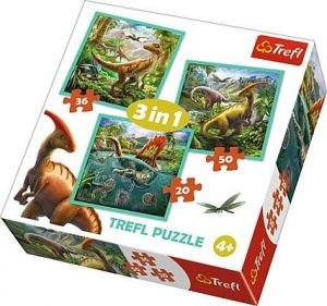 Puzzle Trefl 3v1 - 20 , 36 a 50  dílků - Svět dinosaurů - 34837