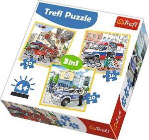 Puzzle Trefl 3v1 - 20 , 36 a 50  dílků - Záchranáři  - 34836